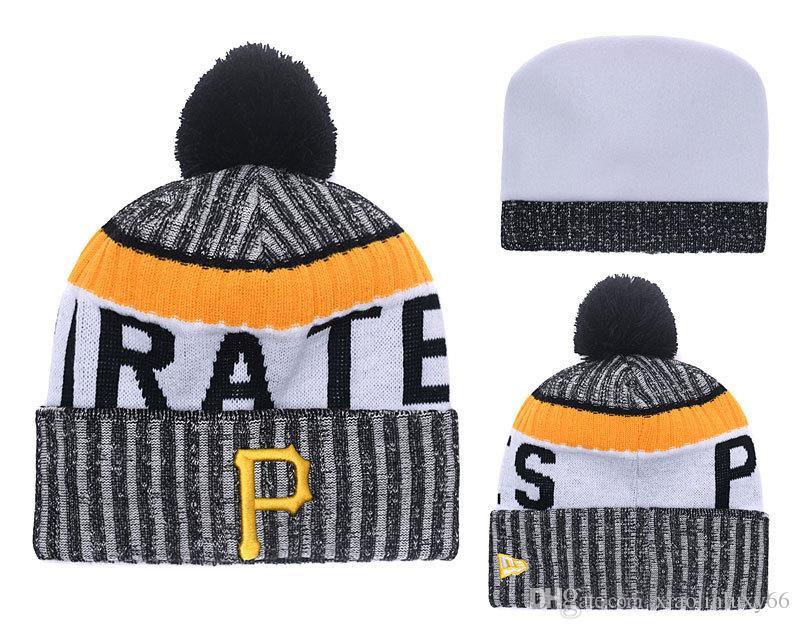 3a1a918114f 2018 New Sport Pirates Baseball Skullies Hat Pom Cuffed Knitted Hats ...