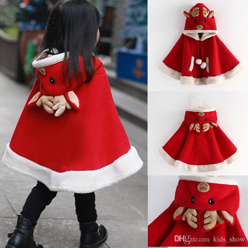 Baby Girls Christmas Elk Cloak Winter Jacket Kids Deer Hoodies Pullovers Elk Poncho Red Color Children Outerwear
