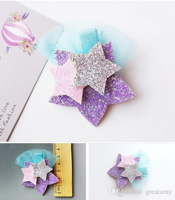 Nuovo stile Glitter Unicorn Stars Hairclips Cartoon Animal Hair Clip Cute Stereo Forcine Kids Headwear Accessori capelli le ragazze