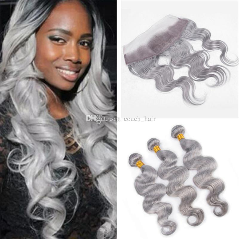 2018 Silver Gray Human Hair Weave Bundles With Lace Frontal Closure