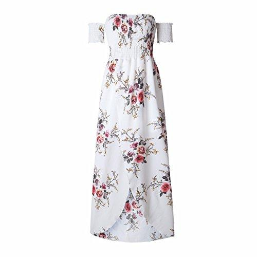 2ae92d0c2e5e Women S Boho Style Off Shoulder Chiffon Long Dress Summer Beach Floral  Print Split Party Maxi Dress Long Dresses Black And Gold Dresses For  Juniors Black ...