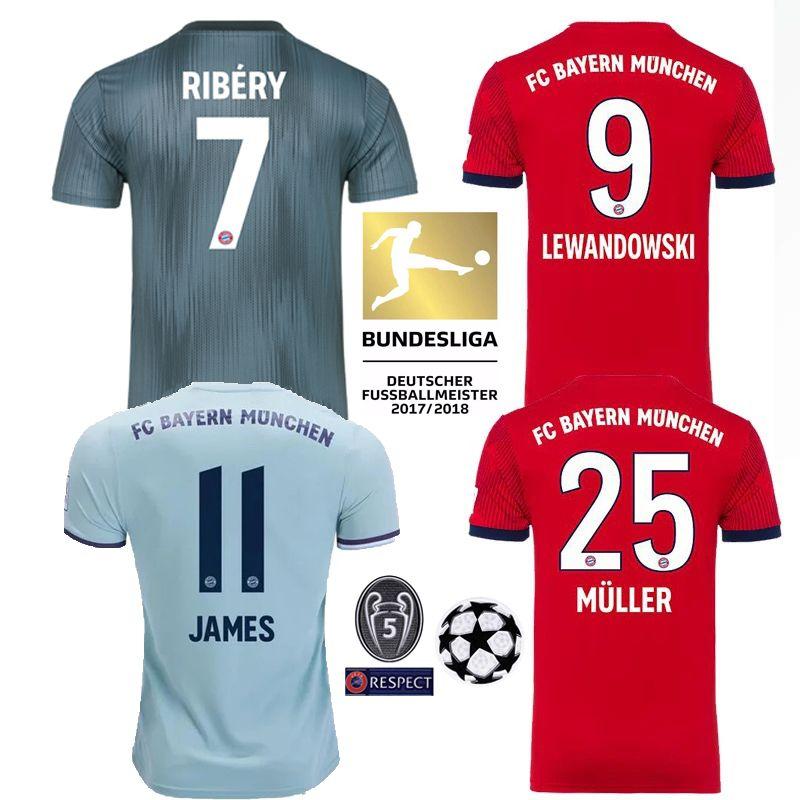 2018 19 Bayern Munich Hombres Mujeres Camiseta JAMES Maillot RODRIGUEZ  Camiseta De Fútbol LEWANDOWSKI MULLER KIMMICH Camiseta De Fútbol Kit Liga  De ... 087bacbfaf9d3