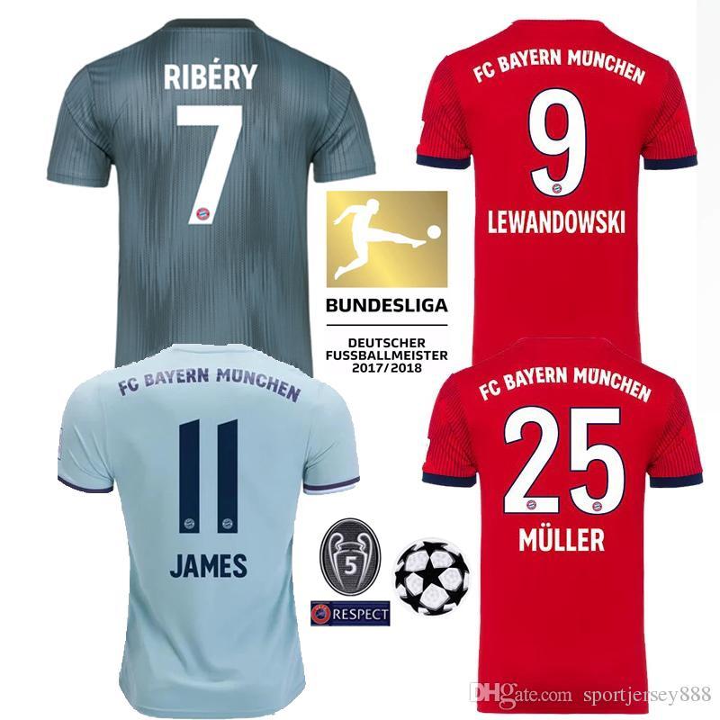 2019 2018 19 Bayern Munich Men Women Shirt JAMES Maillot RODRIGUEZ Soccer  Jersey LEWANDOWSKI MULLER KIMMICH Football Shirt Kit Champions League From  ... fb4ff3366