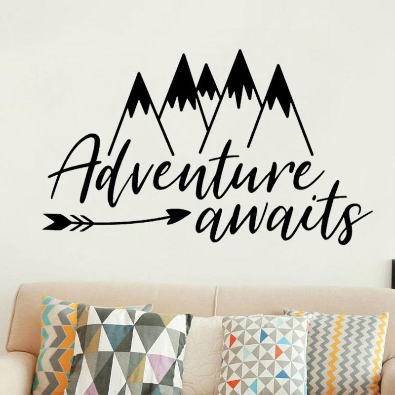 Grosshandel Wandtattoo Mountain Arrow Muster Wandaufkleber Zitate