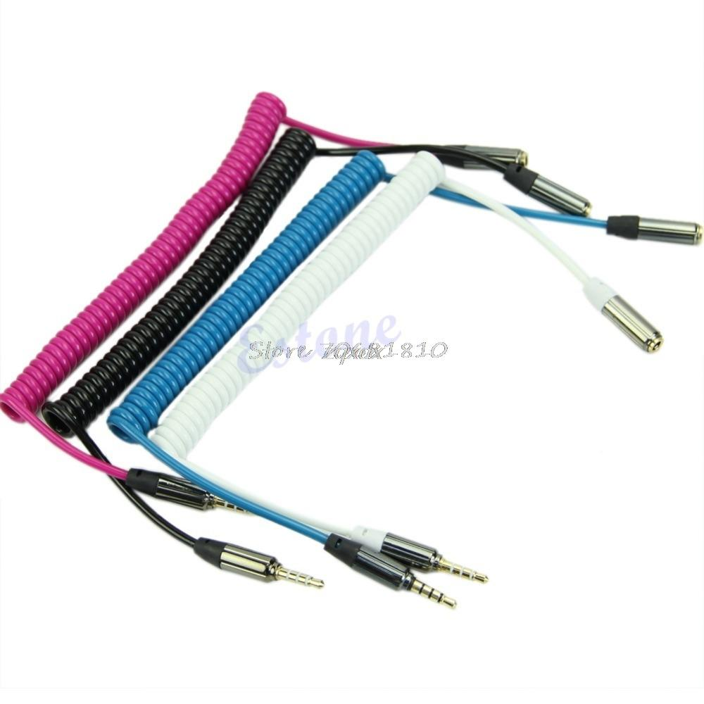 35mm Jack Male To Female Spring Aux Extension Cord Spiral Stereo 3 5mm Audio Cable Wiring Scheme Z07 Drop Ship Cables And Connections Computer Connectors From