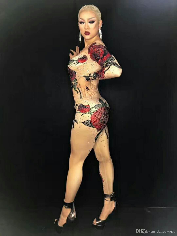 DS Parlak Kristaller Gül Çiçek Tulum Kadınlar Kıyafet Parti Kostümleri Sahne Giyim BodySuit Dans Şarkıcı RhinestoneS Tulum Gece Kulübü Elbise