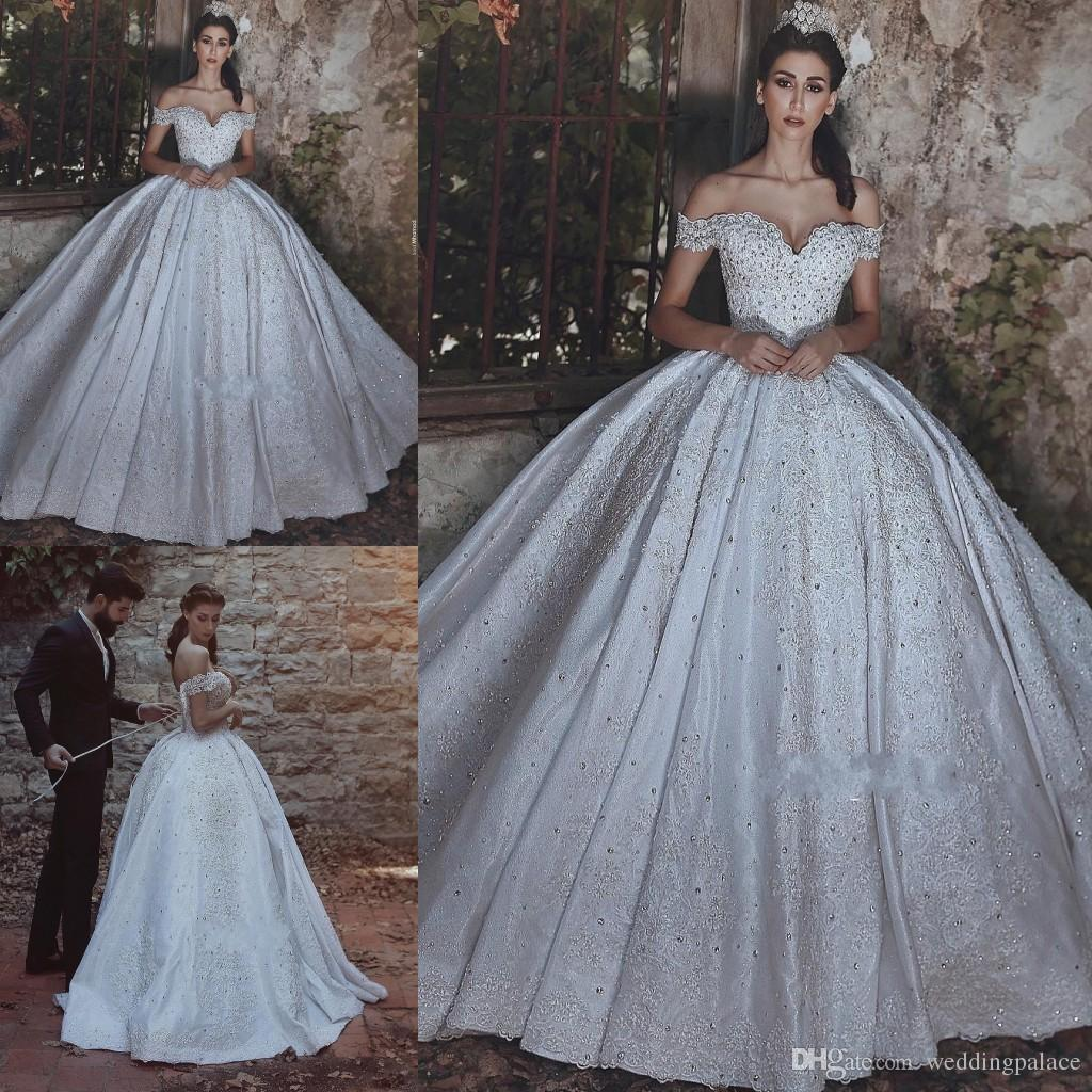 f714fe5e24 Hot Sale Cap Sleeve Ball Gown Wedding Dresses Appliques Beaded Sweep Trai  Lace Up Back Bridal Gowns Princess Plus Size Bride Wedding Gowns Boutique  Dresses ...