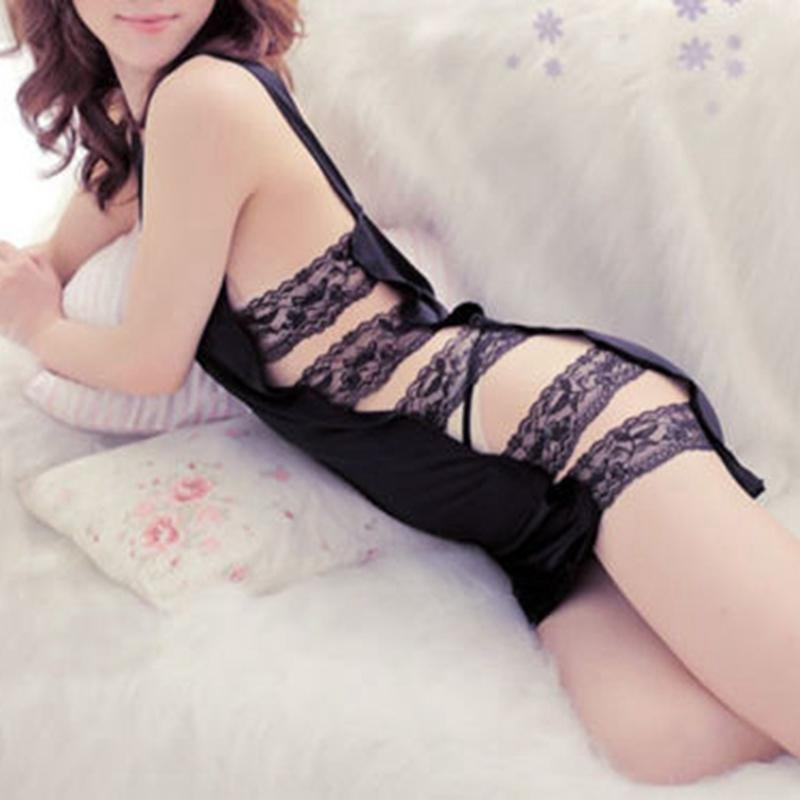 c460efc805e 2019 Women Girls New Fashion Sexy Solid Hollowed Sleeveless Deep V Neck Sexy  Lingerie Black Lace G String Sleepwear Sets Hot From Jellwaygood