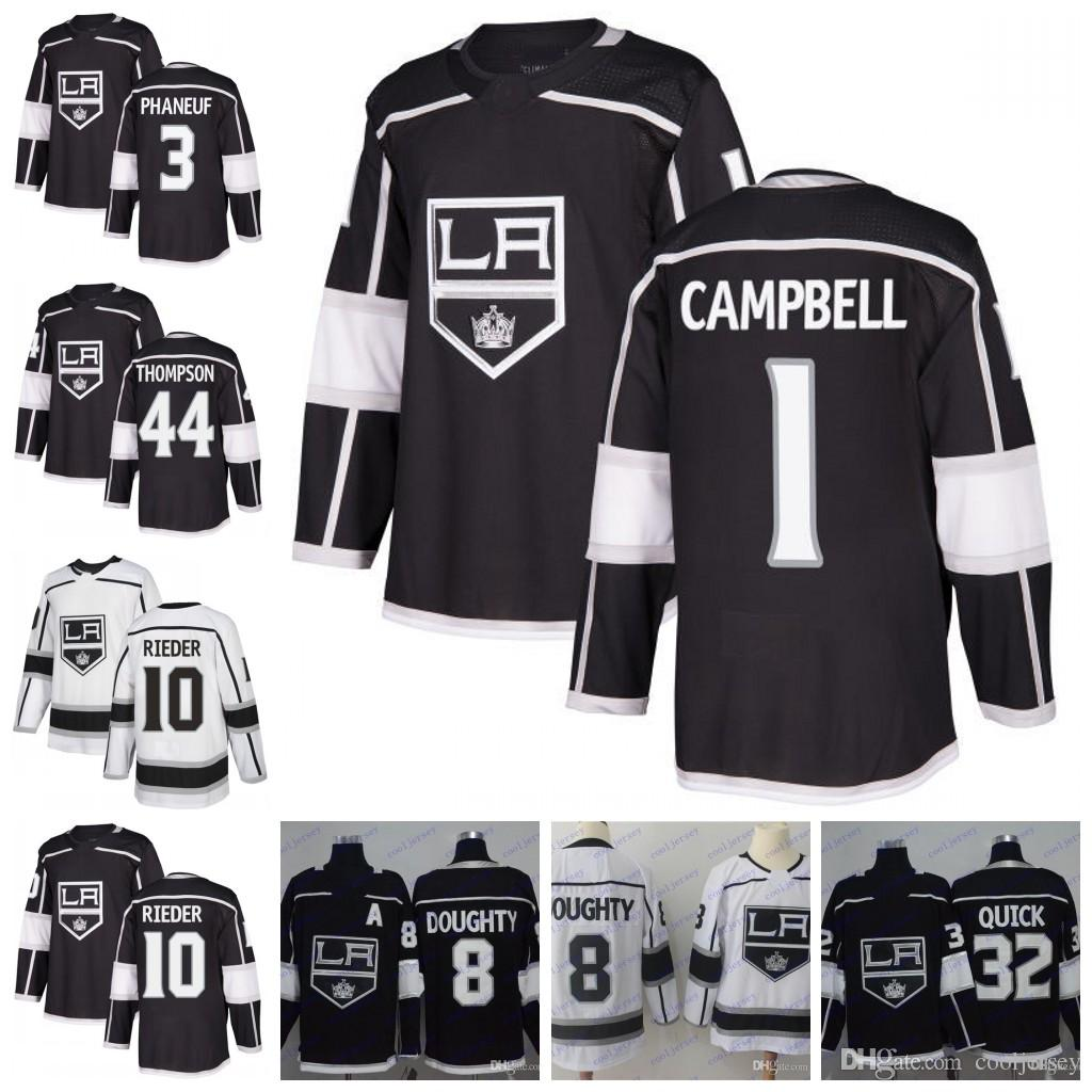 2019 Custom Los Angeles Kings Hockey  1 Jack Campbell 3 Dion Phaneuf 10  Tobias Rieder 44 Nate Thompson Black White Jerseys Stitched S 60 From  Cooljersey 228020071