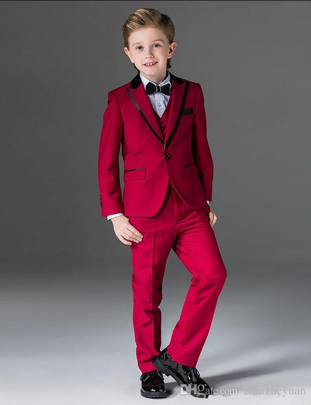 Newest Three Pieces Red Boy Tuxedos Peak Lapel Cheap Children Suit Custom Made Kid Wedding Prom Suits Jacket+Vest+Pants+Bow Tie