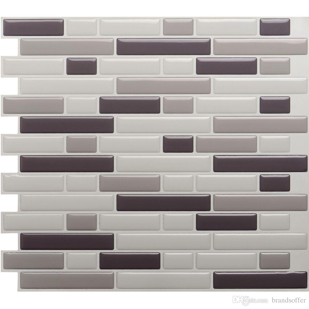 White Grey Marble Mosaic Peel And Stick Wall Tile Self Adhesive ...