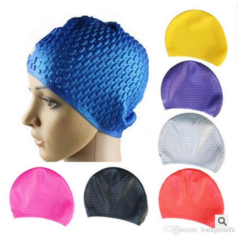 Capa de Silicone Chapéu de Natação Macia Proteger Orelha Longo cabelo Waterdrop Adultos Toucas de Banho Para Homens E Mulheres Fontes de Natação 7 rx B