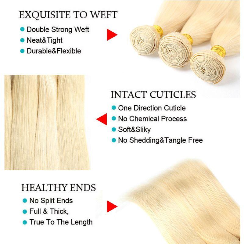 # 613 Rubia 22.5 * 4 * 2 pulgadas de encaje Frontal con Bundles Rubia recta brasileña Virgen de cabello humano teje transparente 360 suizo Frontal de encaje