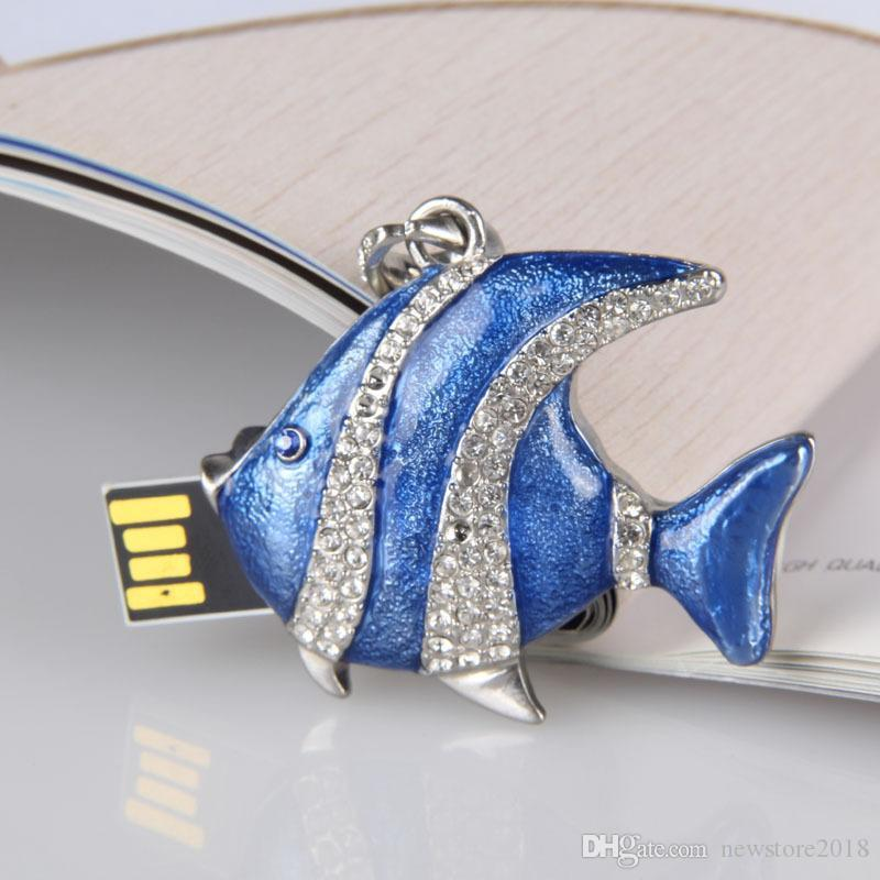Cool USB flash drive 4GB-32GB Elegant crystal fish necklace - USB Flash 2.0 Memory Drive Stick pendrive 2018 new arrival