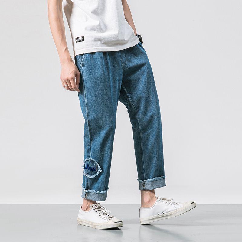 Acquista 2018 Estate Stile Giapponese Moda Uomo Jeans Allentati Ricamo  Pantaloni Casual Pantaloni Elastici In Vita Cowboy Pantaloni Taglia M 2XL A   47.45 ... 526a04bd8032