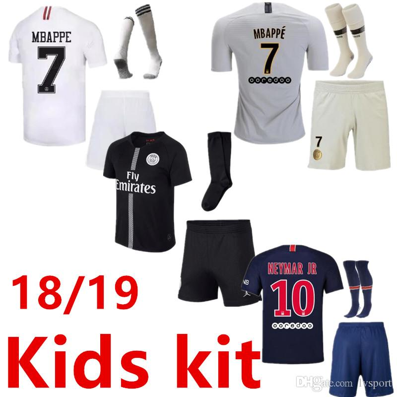 962b14ea0 2019 2019 PSG Champion League 3rd Kds Kit Soccer Jerseys PSG 18 19 Mbappe  VERRATTI CAVANI MAILLOT DE FOOT Child Home Away Jersey From Lvsport