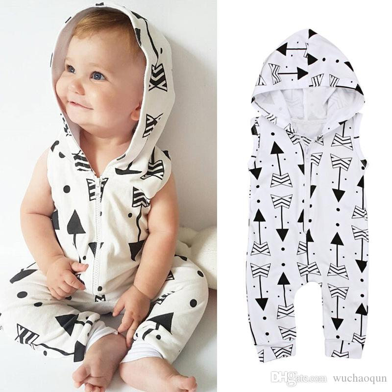 8ced5ae9bc4e 2018 New INS Baby Jumpsuit Infant Summer Sleeveless Hoodied Arrow ...