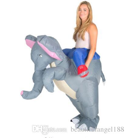 Adulto Engraçado Animal Inflável Elefante Fancy Dress Costume Outfit azul elefante Mascot Costume Halloween Purim Stag 150cm-200cm