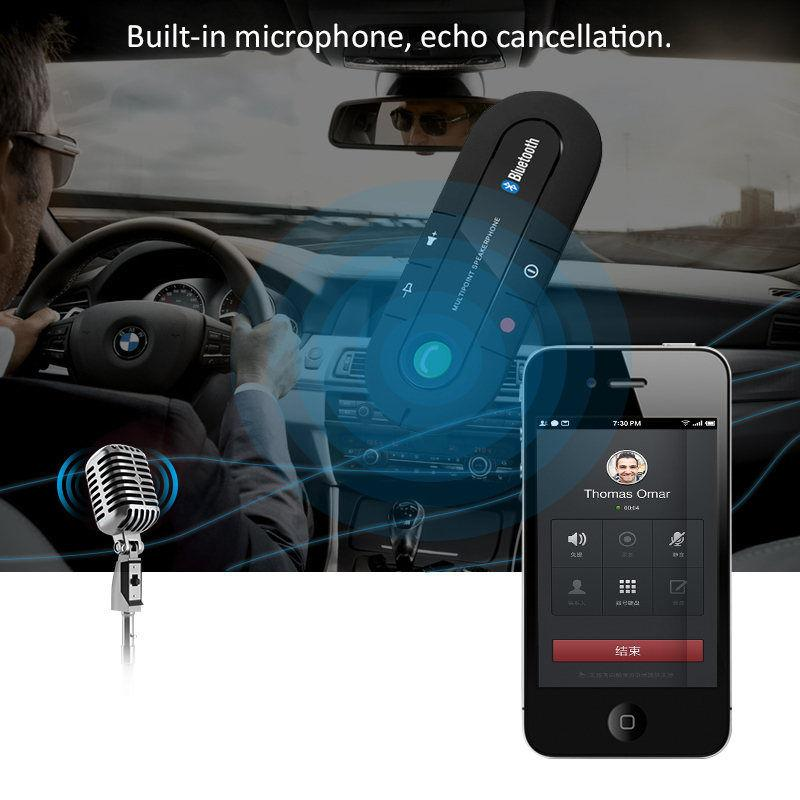 Bluetooth Connecting 4.1+EDR Multipoint Speakerphone Hands-free Speaker Car Kit Sun Visor bt980 Dual Phones with MP3 Music