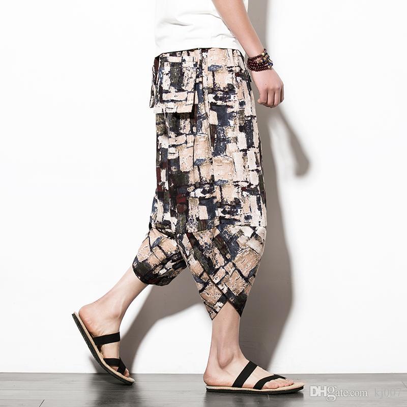 Брюки горячие продажи старинные нерегулярные Мужские брюки шаблон размер повседневная геометрическая печати пляж брюки Брюки мода брюки карманы брюки костюмы гарем хип-хоп