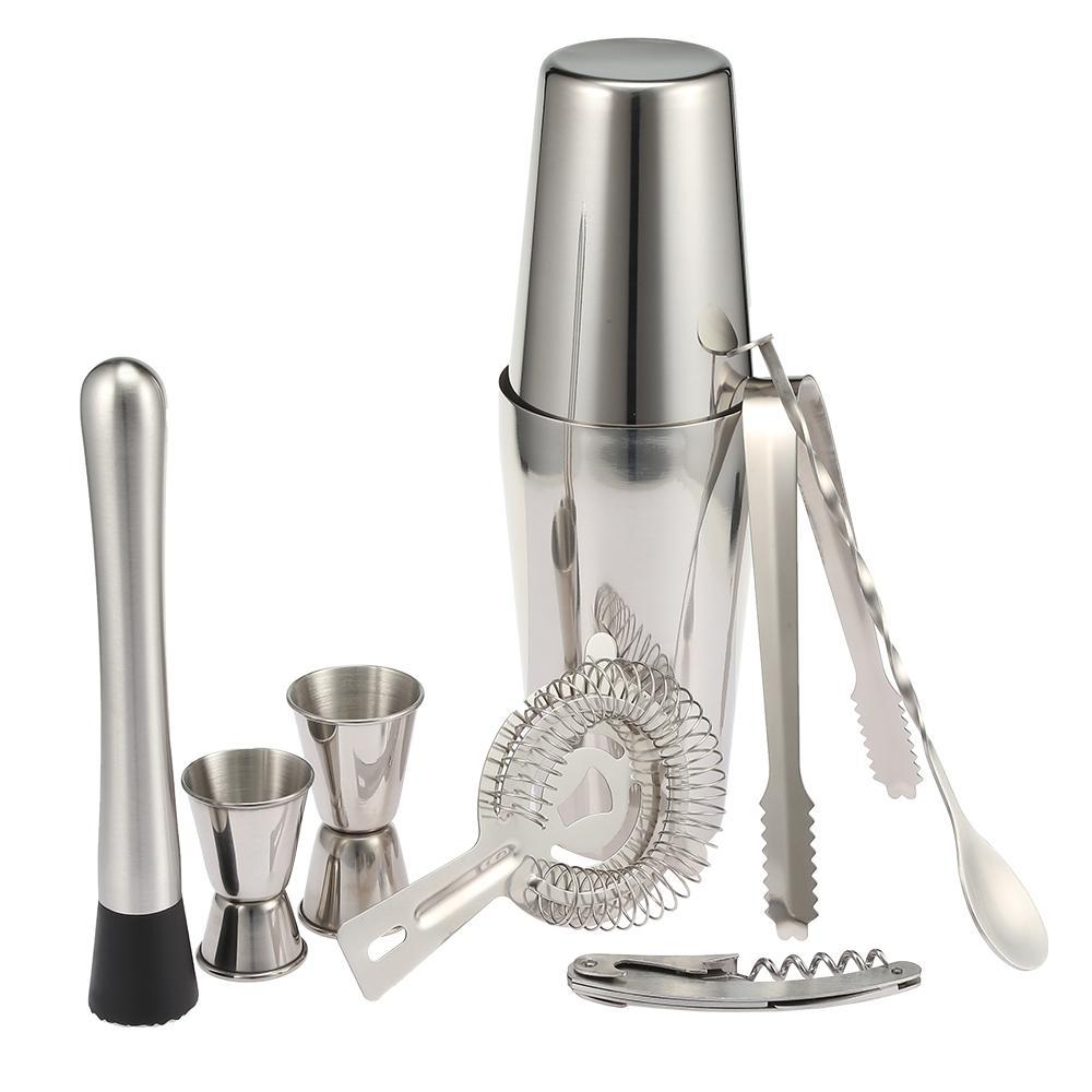 9PCS Cocktail Set Professional Stainless Steel Cocktail Maker Shaker  Stainless Steel Boston Shaker Set Bar Cocktail Kitchen Tool NB