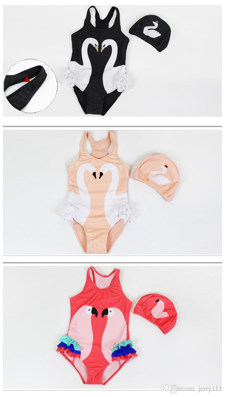 One-piece Girls Swimwear With Swimming Cap Flamingo Parrot Swan Swimsuit Bathing Cap Princess Dresses Clothing Baby Cartoon Swim wear LC748