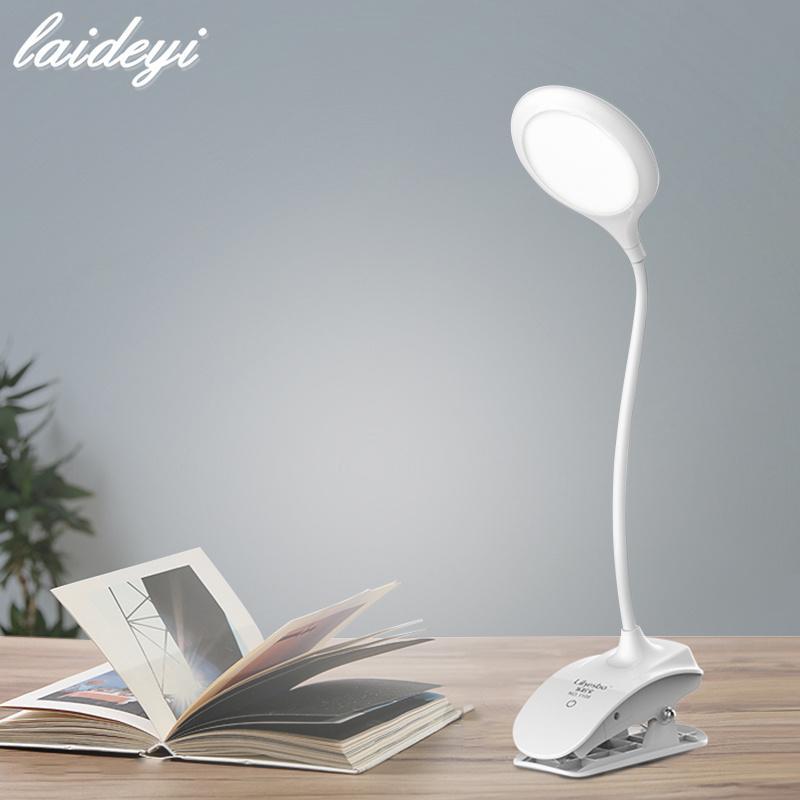 LAIDEYI Touch Type 3 Lampada da scrivania a LED dimmerabile di grado con clip Occhi USB che proteggono la lampada da tavolo a 18 LED Lampada da lettura studenti