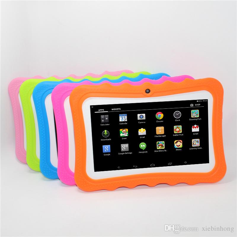 Sale!7 inch AllWinner A33 Q88pro Children Tablet PC Android 4.4 512MB+8G Quad core crash proof gift colorful kids tablets