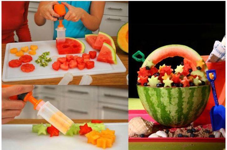 Criativo DIY Frutas Decoração Veggie Molde Set Ambiental PP + ABS Frutas Vegetais Cortador de Bolo Modelo 6 Pçs / set