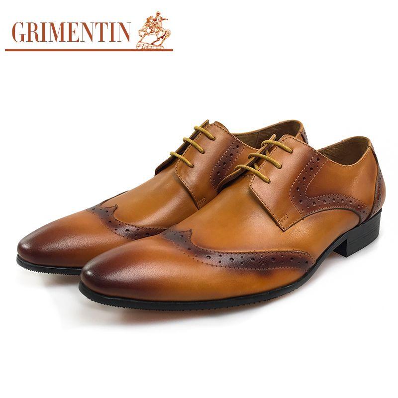83c97a811b6a66 Großhandel Grimentin Vintage Männer Kleid Schuhe 2017 Orange Männlichen  Business Brogue Schuhe Für Männer Größe  38 44 Om47 Von Chenlyn