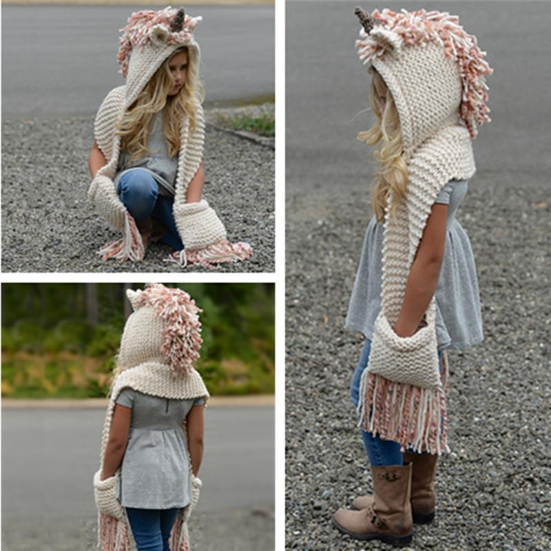 Handmade Knitted Unicorn Winter Hat And Scarf Set Crochet Hooded Design For Girls And Boys Cosplay Clear And Distinctive Apparel Accessories