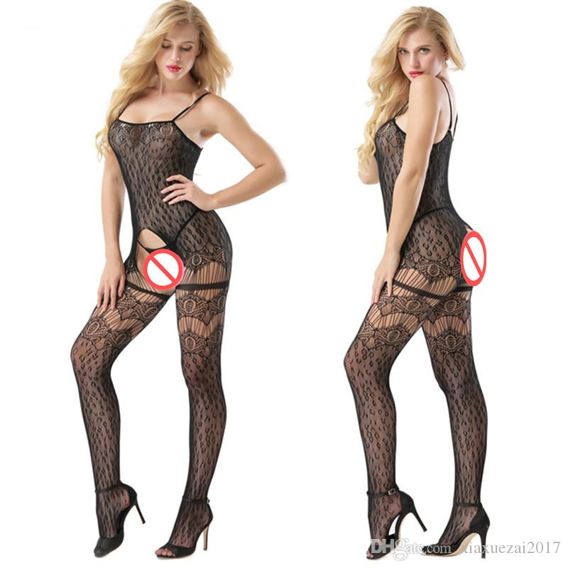 943de23c68 2019 Sexy Pantyhose Erotic Black Fishnet Tights Thigh High Stocking Socks  Hosiery Women S Underwear Elastic Slim Garters Open Crotch Lingerie From ...