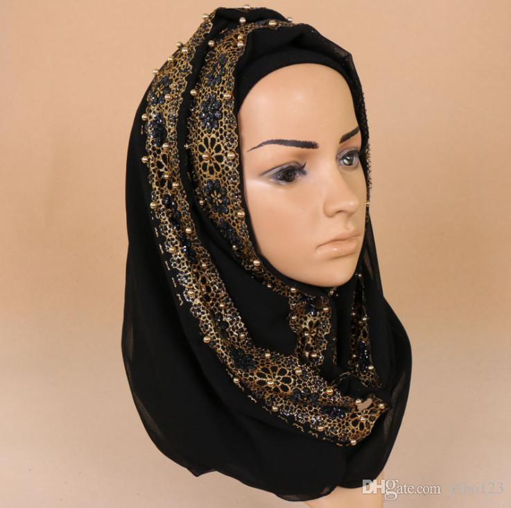 Acheter 2018 Nouveau Foulard Musulman 180   85 Cm Arabian Femmes Doré Perle  Dentelle Hijabs Tête Wraps Lady Turque Fête Mariage Hijab Écharpe De   633.17 Du ... 1b1fff706e3