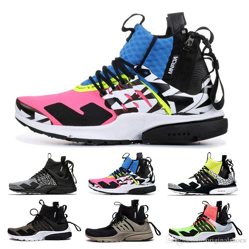 be67dba96b38 2018 Presto High Quality Acronym Air MID White Black Hot Lava Running Shoes  For Men Sports Shoes Size 39 46 Trail Running Shoes Women Best Shoes For  Running ...