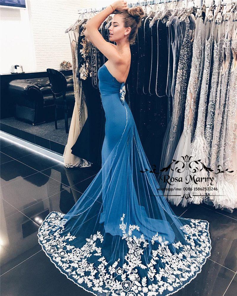 Sexy Royal Blue Mermaid Arabic Prom Dresses 2018 Plus Size Vintage ...