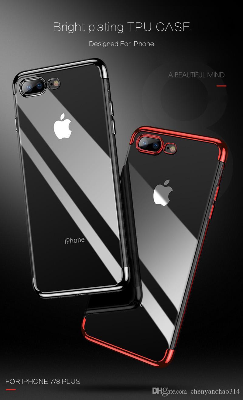 Métal de galvanoplastie Clear Case Soft TPUSilicone Couverture de protection anti-choc pour iPhone X 8 7 6 6 S Plus Samsung S8 S9 Plus cas