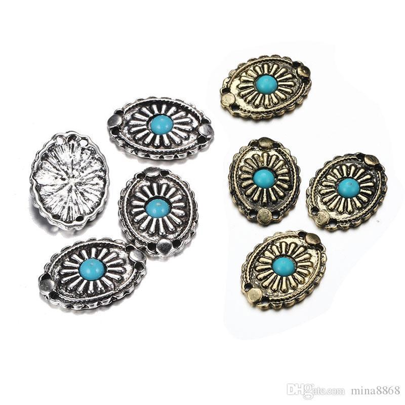 Antique bronze prata Oval Conector encantos para Colar pulseiras da Jóia do Dia da Páscoa Fazendo Acessórios Turquesa azul Olho encantos