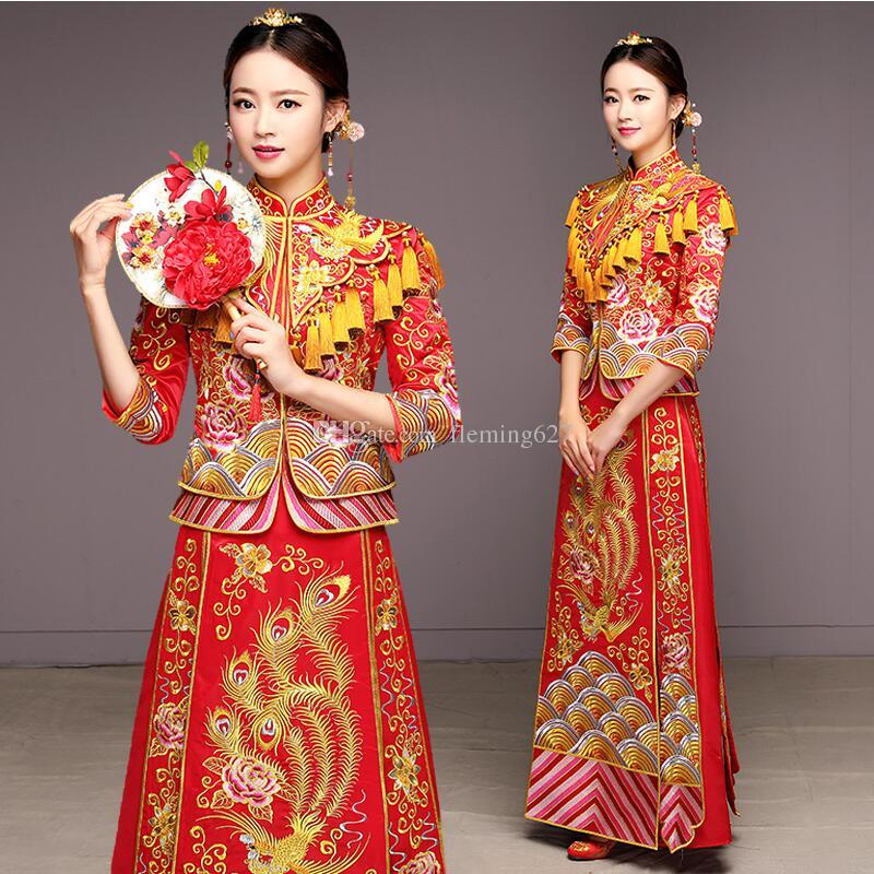 e1be0b9a6 2019 Ancient Marriage Costume The Bride Clothing Gown Traditional Chinese  Wedding Dress Women Cheongsam Embroidery Phoenix Red Qipao Ethnic Wear From  ...