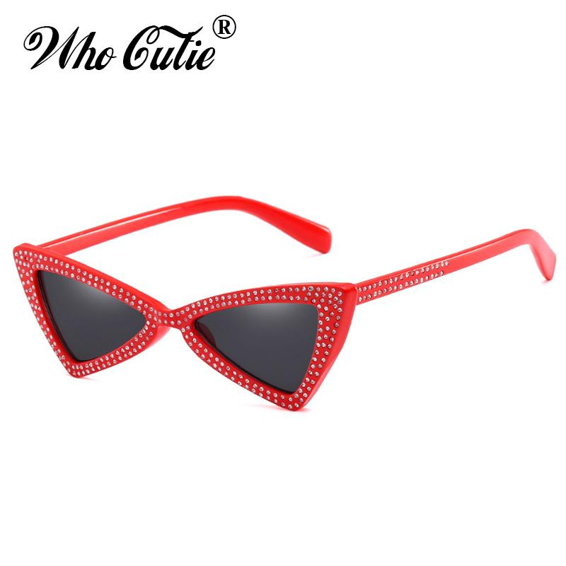 Who Cutie 2018 Triangle Jerry Cat Eye Sunglasses Women Vintage Red ...