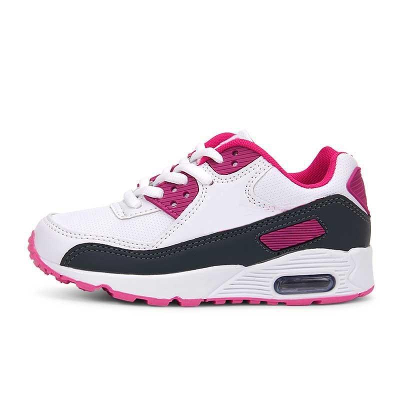 58a7d28ece1e2 Acquista Bambini Scarpe Da Corsa Air Cushion Sneakers Scarpe Classiche 90  Boy Girl Bambini Nero Rosso Bianco Sport Trainer Superficie Scarpe Sportive  ...