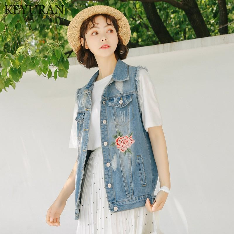 96bdb343642f 2018 New Boyfriend Style Vintage Hole Embroidery Denim Vest Women ...