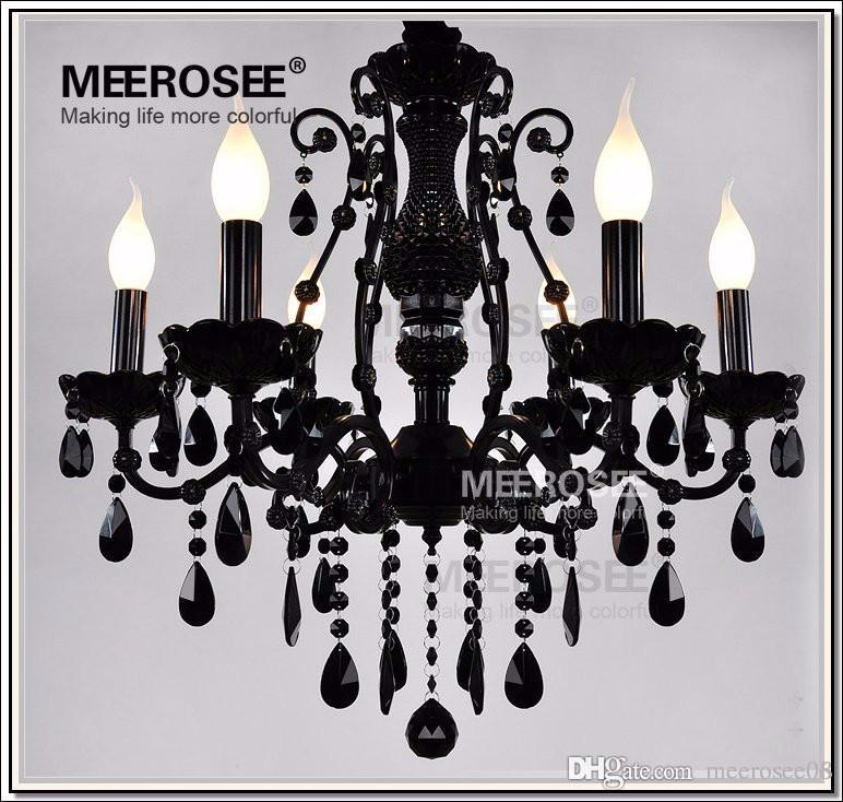 Hot French Style Crystal Chandelier Lighting Fixture Vintage Black Wrought Iron Chandelier Suspension Hanging Lamp Light