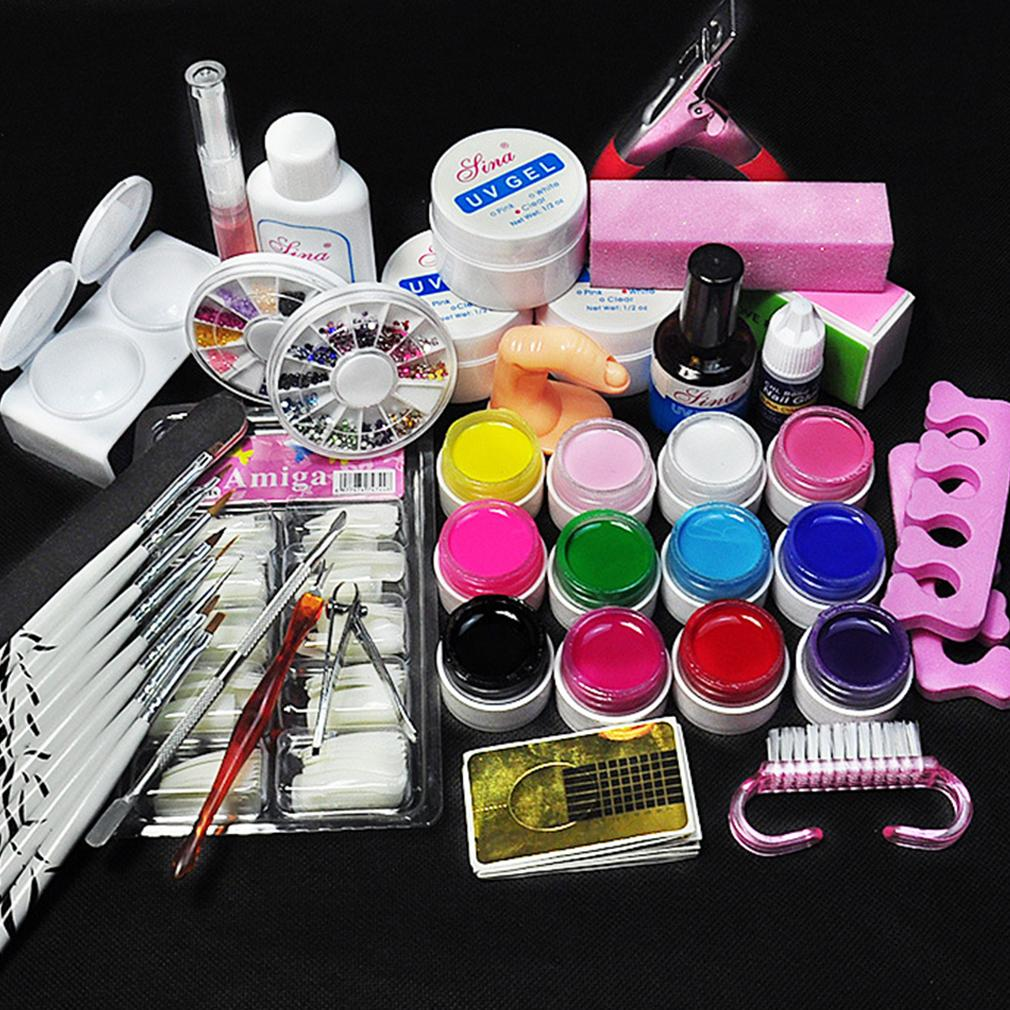 Nail Art Tool Kit Manicure Set For Beginners Uv Gel8 Zebra Brush
