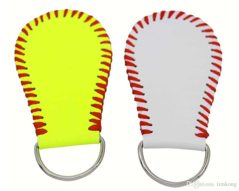 4302ceaf9 2018 Hotsaleusa Softball Sunny Embroidered Yellow Really Leather Grils  Gifts With White Real Leather Baseball Sports Season Jewelry Keychain Child  Charm ...