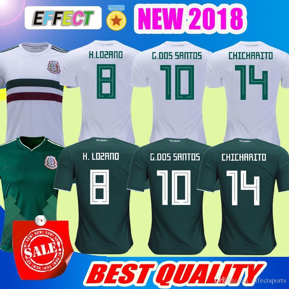 ... New 2018 Mexico Soccer Jersey Home 17/18 Green Away White Chicharito  Camisetas De Futbol H.Lozano G.Dos Santos A.Guardado Football Shirts Online  At A ...