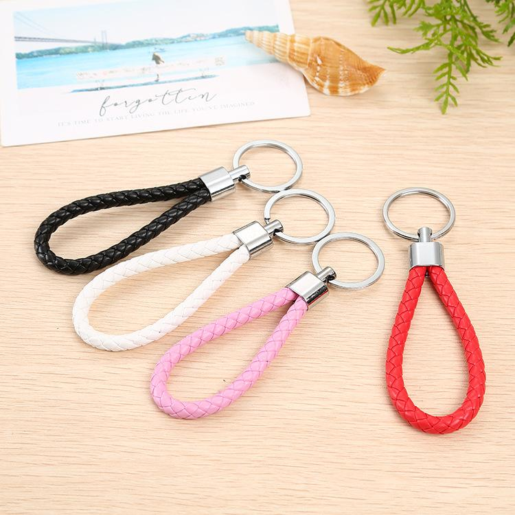 Hand woven leather rope chain waist key ring creative gifts men and women car key pendant