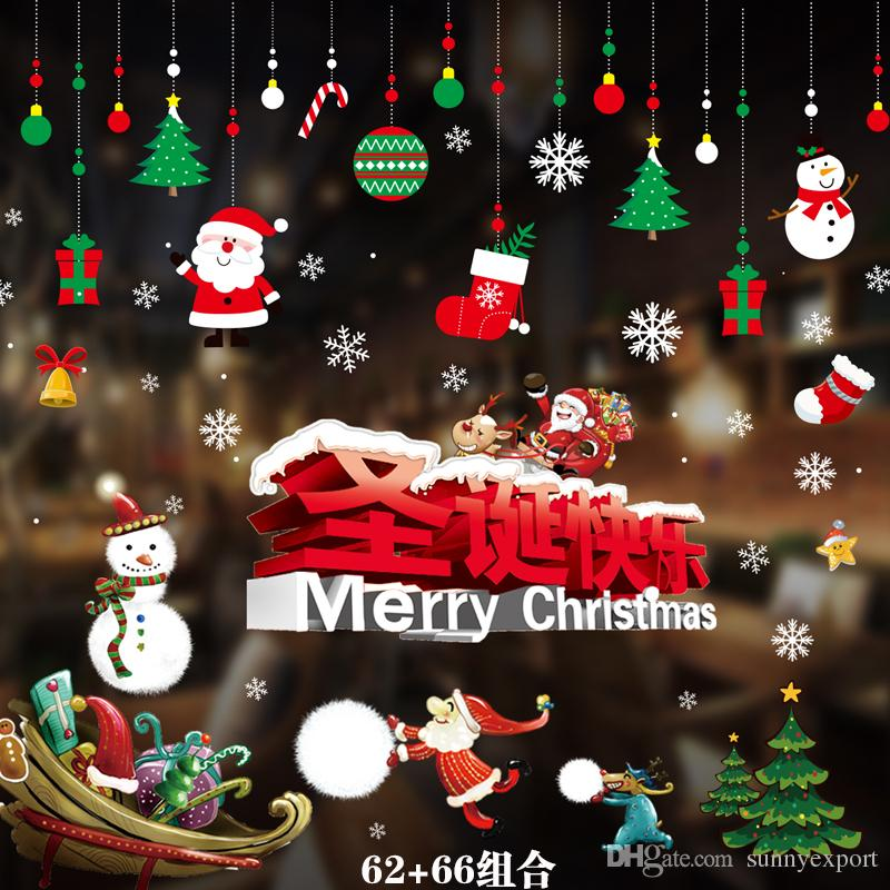 Christmas electrostatic stickers for Shopping Mall Kindergarten Home Window Glass Decoration