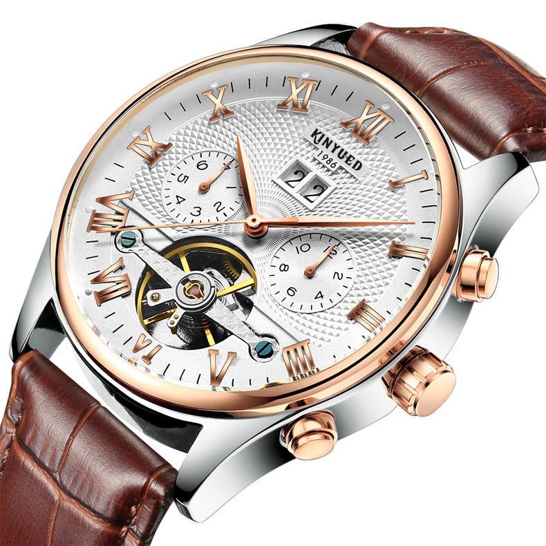 impermeável Dia suíço automático dos homens / Mês Tourbillon Relógio Mecânico com caixa de presente China Ouro moda relógios couro real da correia de pulso