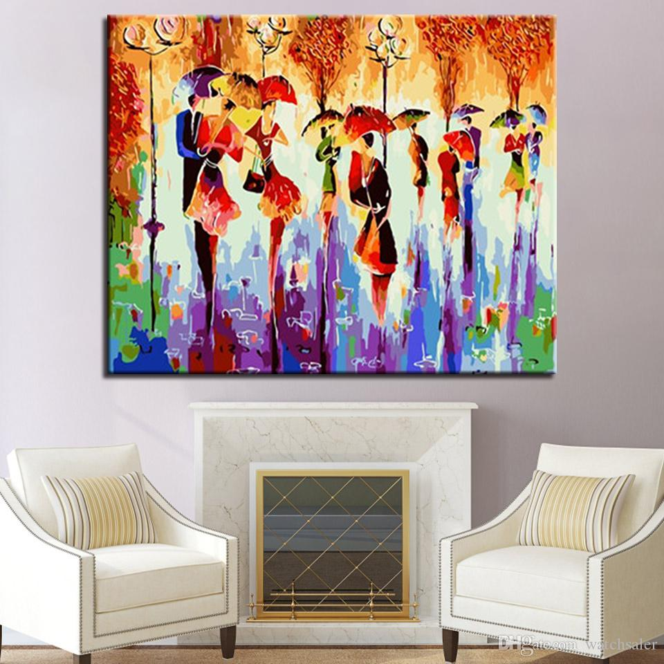 DIY Umbrella Dance Oil Painting By Numbers Wall Art Acrylic Kits Drawing Canvas Pictures Handpainted Home Decor For Living Room