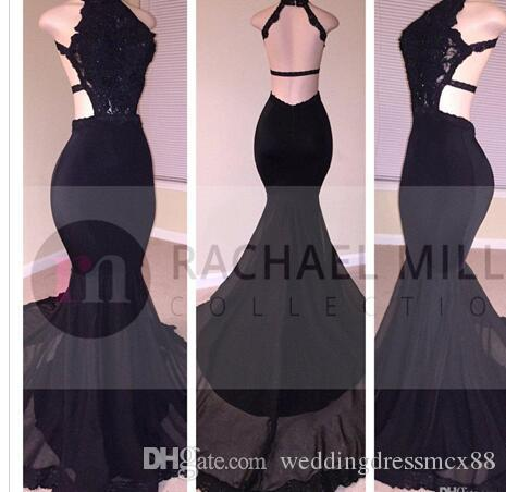 2017 Sexy Black Mermaid Long Prom Dresses Lace Sequins Halter Beaded Backless Side Slit Evening Dresses Formal Evening Party Gowns